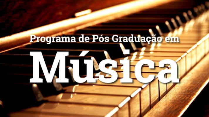 Imagem ilustrativa com piano e os dizeres Programa de Pós-graduação em música